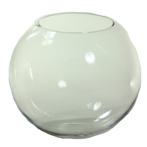 Essential Décor Entrada Collection Round Glass Fish Bowl, 15 by 14-Inch, Clear