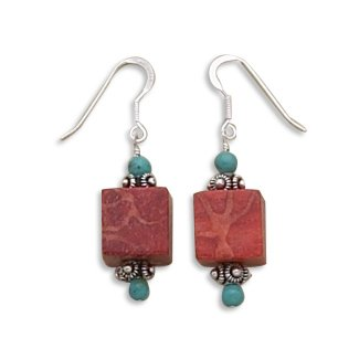 Turquoise-Square-Sponge-Coral-Earrings-on-French-Wire-925-Sterling-Silver
