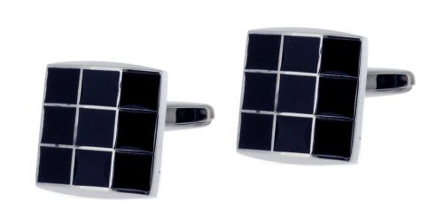 Code Red Base Metal Rhodium Plated Square Cufflinks with A Grid of Black Enamel Squares