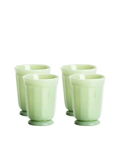 Mosser Glass Set of 4 Jadeite Green 6-Oz. Panel Tumblers