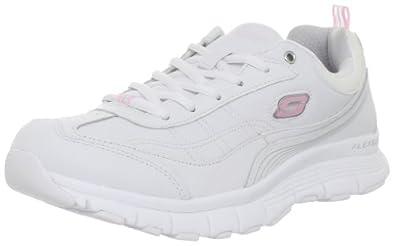 Skechers Women's Show Stopper Lace-Up Fashion Sneaker,White/Pink,9 M US