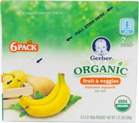 Gerber Organic Baby Food Pouches 2Nd Foods 3.5 Oz Banana Squash -- 6 Pouches front-20181