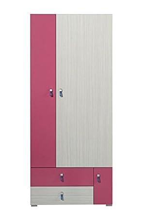 """Chambre d'enfant - Armoire """"Felipe"""" 01, Rose / Blanc - Dimensions: 80 x 190 x 50 cm (L x H x P)"""