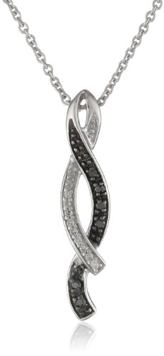 Sterling Silver and Black and White Diamond Twist Pendant Necklace (0.07 cttw, I-J Color, I2-I3 Clarity), 18″