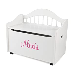 KidKraft Personalized Limited Edition Toy Box-White With Pink Script Font,Alexis