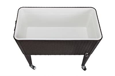 Palm Springs Deluxe 80 Quarts Rattan Portable Rolling Cooler