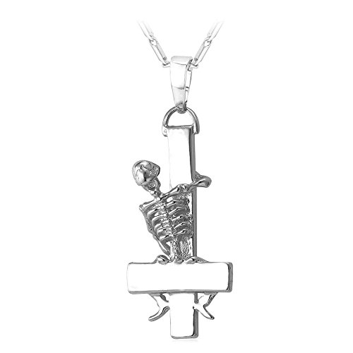 U7 Men Vintage Gothic Skull Design Inverted Cross Pendant Necklace With 22 Inch Platinum Plated Chain (Mens Cross Necklace Platinum compare prices)