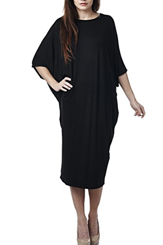 82 Days Women'S Rayon Span Kimono Loose Fit Mid Long Jersey Dress - Black S