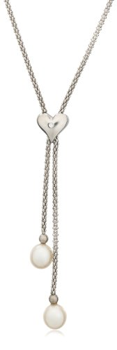 Freshwater Cultured Pearl Drop and Sterling Silver with Diamond-Accent Heart Necklace, 18