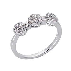 14k White Trendy 0.57 Ct Diamond Ring - Size 7.0 - JewelryWeb