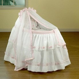 Baby Regal Bassinet Liner & Hood - Color White w/ Pink Trimming - Size 13x29