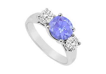 Sterling Silver Tanzanite and Cubic Zirconia Three Stone Ring 1.25 CT TGW MADE IN USA