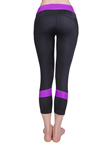 Baleaf Women's Workout Running Capri Leggings Purple Size S