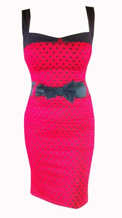 Switchblade Stiletto Womens DARLING DRESS (XX-Large, Red Polka with Bow Belt)
