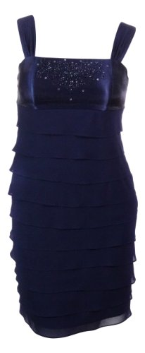 S L Fashions Women's Georgette Tiered Beaded Dress (12, Sapphire)