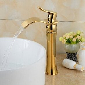 Senlesen Brass Waterfall Golden Bathroom Sink Faucet Basin Mixer Tap,Ti-PVD Finish (Water Mixer Tap compare prices)