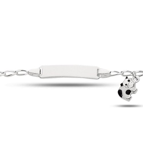 Baby Id Fancy Link Bracelet With Cow In Sterling Silver (6 Inches)