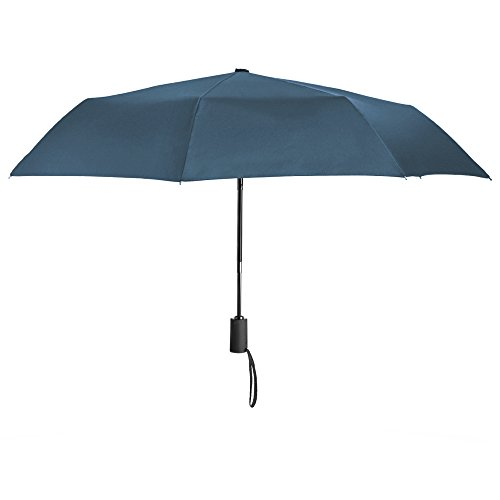 Plemo Windproof Rain Umbrella Compact Auto Open / Close Folding Travel Umbrella with Anti-slip Grip, Quick Dry, Blue