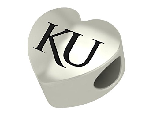 University of Kansas Jayhawks Sterling Silver Heart Bead Fits Most European Style Charm Bracelets