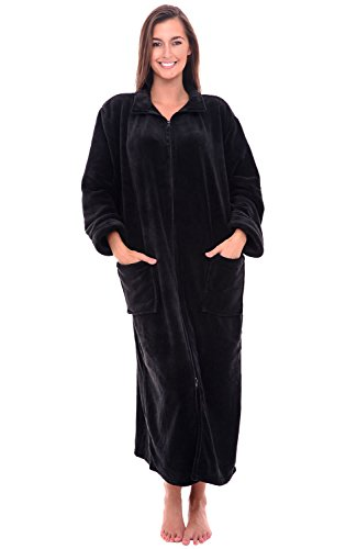 Del Rossa Women's Fleece Robe, Soft Zip-Front Bathrobe