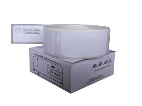 Houselabels 1 X 2-1/8 Inches Dymo-Compatible 30336-R Removable Multipurpose Labels, 1 Roll, 500 Labels Per Roll