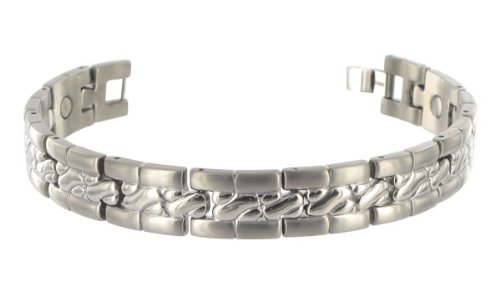 12 MM Wide Mens Texture Pattern Titanium Magnetic Bracelet 8