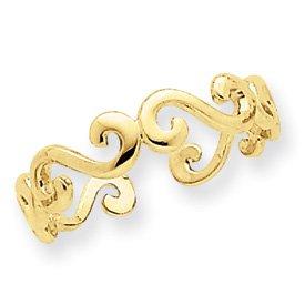 Genuine IceCarats Designer Jewelry Gift 14K Swirl Toe Ring Size 0.00