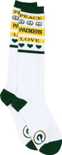 Green Bay Packers Women's Peace and Love Socks at Amazon.com