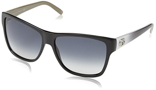 Gucci Sunglasses - 3579 / Frame: Black with Black and White Temples Lens: Gray Gradient