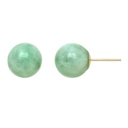 14kt Yellow Gold, Green Jade 10 mm Ball Stud Earrings