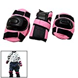 Sports Knee Elbow Wrist Inlineskaten Protective Pads Pink for Kids
