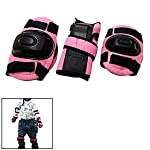 Pink Kids Knee Elbow Wrist Protective Guards Pads for Inline Ice Skate