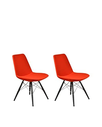 Aeon Furniture Paris 5 Side Chair, Set of 2, Orange