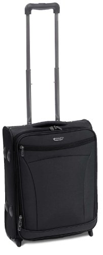 Rock Rome Luxury Lightweight Expandable Carry On Trolley Case in Black