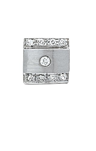14K White Gold Tie Tac with Two Rows of Diamonds and One Center Stone-86502