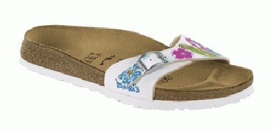 Cheap Birkis slippers Menorca in size 28.0 N EU made of Birko-Flor in Flower White Lagoon with a narrow insole (B005Q74468)