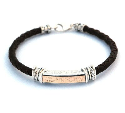 Gold and Silver Shema Yisrael Jewish Charm Bracelet for Men