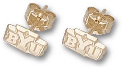 LogoArt Brigham Young Cougars 10K Gold Team Font 3/16 Dangle Earrings