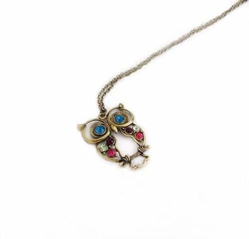 Antique Alloy with Colour Crystal Baby Owl Long Prendant Necklace~*~