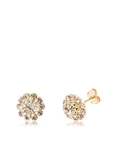 Sevil 18K Gold-Plated White Swarovski Elements Flower Stud Earrings