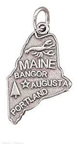 Sterling Silver MAINE State Map Outline Word Charm