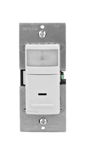 Leviton IPS02-1LW 300-Watt Incandescent, 150-Watt LED/CFL Occupancy Sensor (Auto ON/Auto OFF), Single Pole, White (Motion Light Switch Fan compare prices)