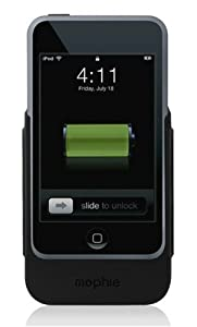mophie juice pack external battery case for iPod touch 1G (Black/Green)