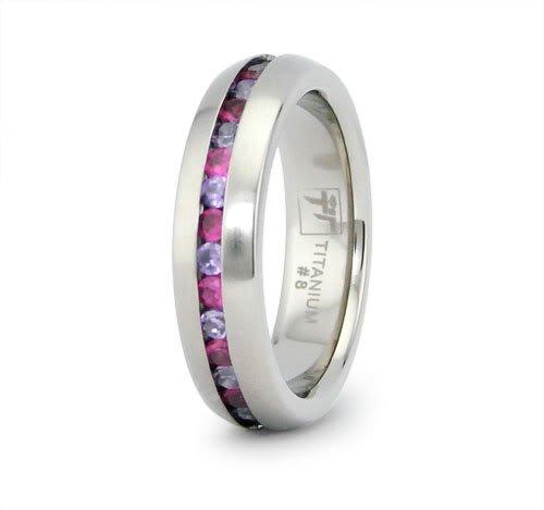 Titanium Eternity Wedding Ring with CZ (Size 11) Available Size: 9, 10, 11, 12