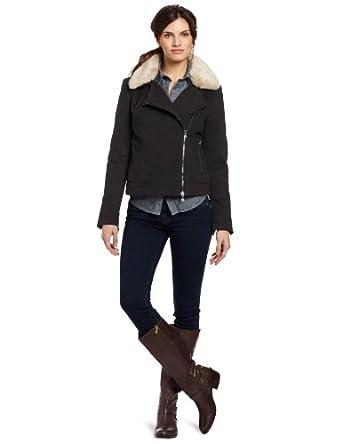 (暴降)Calvin Klein Jeans 女士毛领机车夹克 Moto Jacket 49.99