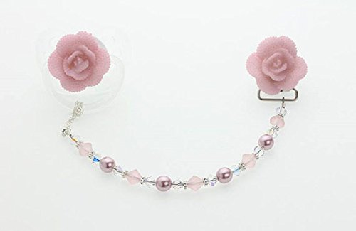 Pink Rose, Pink and Clear Swarovski Crystals and Pink Pearl Pacifier Clip (CFFP)