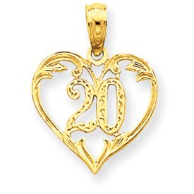 14k 20 in Heart Cut-out Pendant - Measures 19.2x14.2mm - JewelryWeb