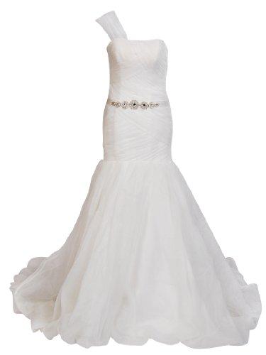 Artwedding One Shoulder Mermaid Wedding Dress with Rhinestone Sash,Ivory,16W