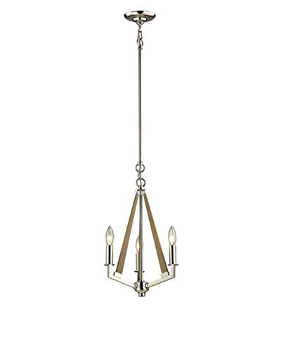 Artistic Lighting Madera Collection 3-Light Chandelier, Polished Nickel