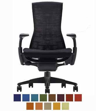 Embody Chair by Herman Miller - Home Office Desk Task Chair with Adjustable Arms Graphite Frame Rhythm Black Fabric